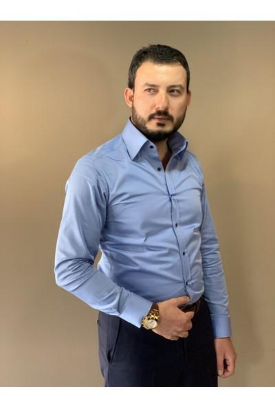 Chamis France Slimfit Polat Yaka Mavi Saten Gömlek M