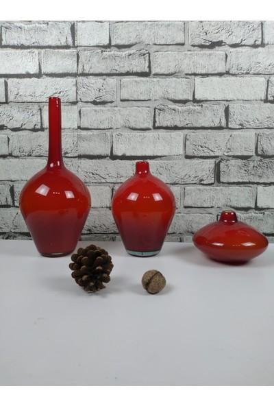 Arkeon Home Üfleme Cam El Yapımı Kırmızı Vazo