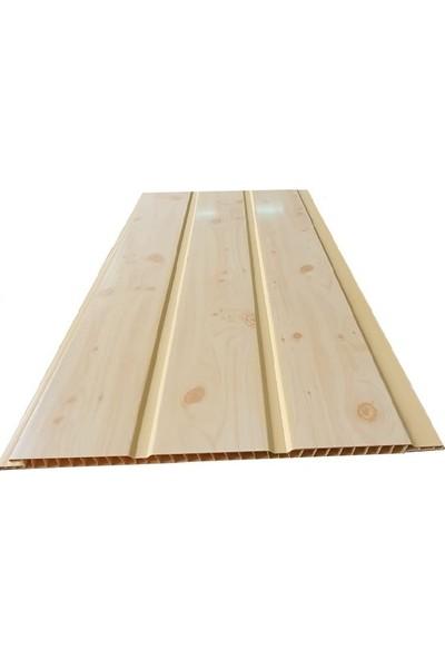 Koç Lambiri-Plastik Lambri Budaklı Akça Ağaç Düz -Tavan ve Duvar Kaplama 10 Adet - 25 cm x 2 Metre 5 Metrekare