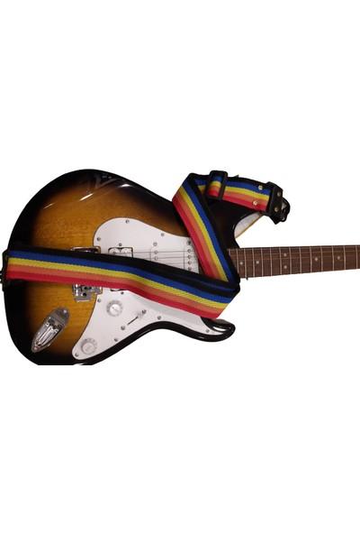 Alice Gitar Askı Kayışı - Gökkuşağı + Metal Kapo