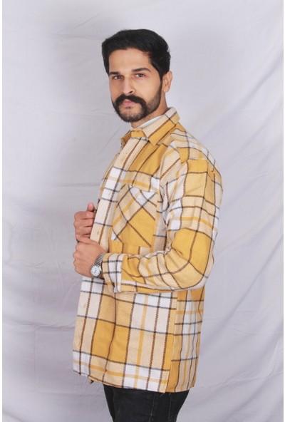 Marrakech Erkek Slim Fit Sarı Oduncu Gömleği