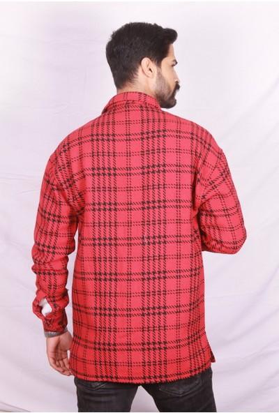 Marrakech Erkek Oversize Kırmızı Oduncu Gömleği