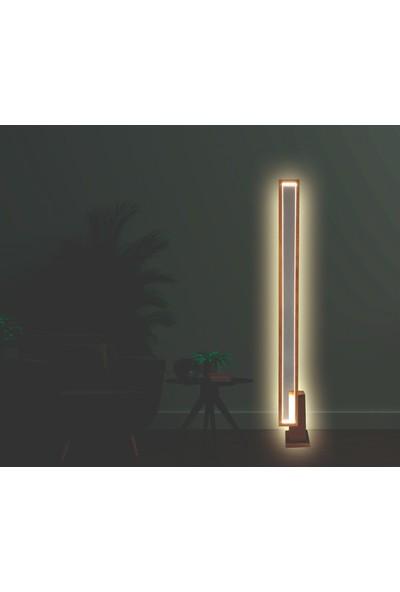 Pronto Dizayn Ahşap LED Işıklı Lambader Ceviz Rengi