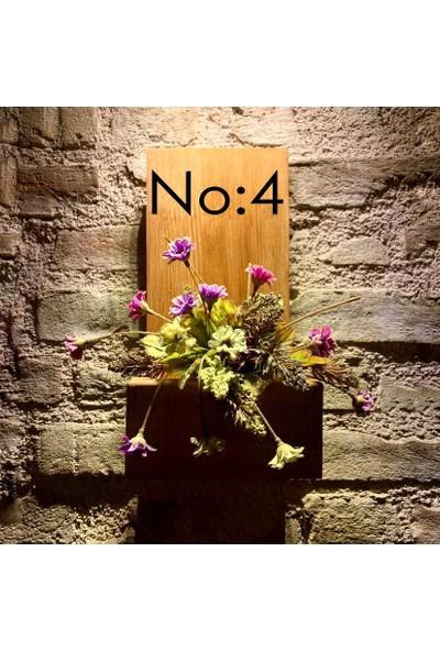 Msagwoods No:4 Kapı Önü Ahşap Kapı Numaralığı-Çiçeklik-Kapı Isimliği