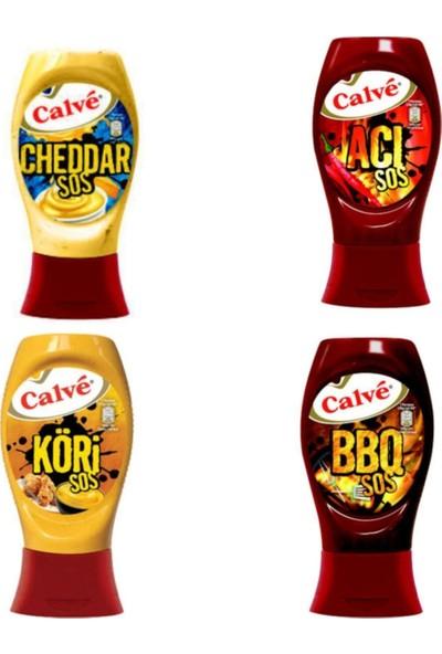 Calve Cheddar Sos - Acı Sos - Köri Sos - Bbq Sos 4'lü Süper Set