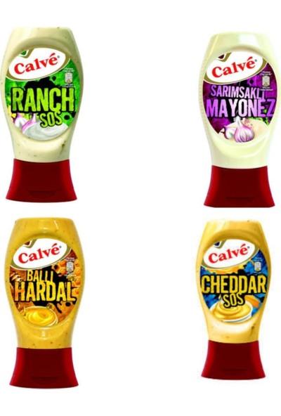 Calve Ranch - Sarımsaklı Mayonez - Ballı Hardal - Cheddar - 4'lü Set