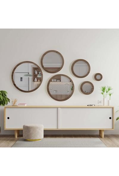 Bluecape Doğal Ağaç Masif Çerçeve 6'lı Set Antre Koridor Duvar Salon Banyo Ofis Çocuk Yatak Odası Ayna