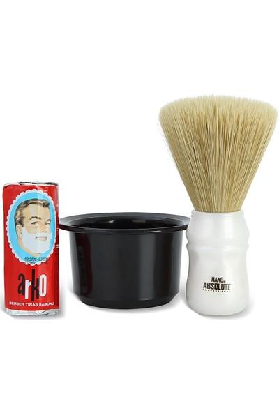 Arko Berber Tıraş Sabunu 75 Gr. + Nano Absolute Ense Fırçası + Tıraş Kasesi Tası