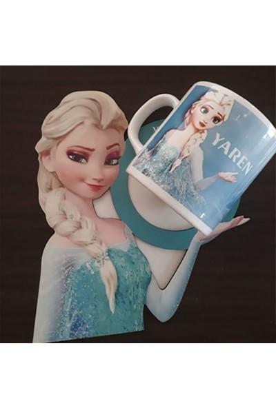 Berk Lazer Isme Özel Elsa Temalı Ahşap Sunum -Beyaz Kupa