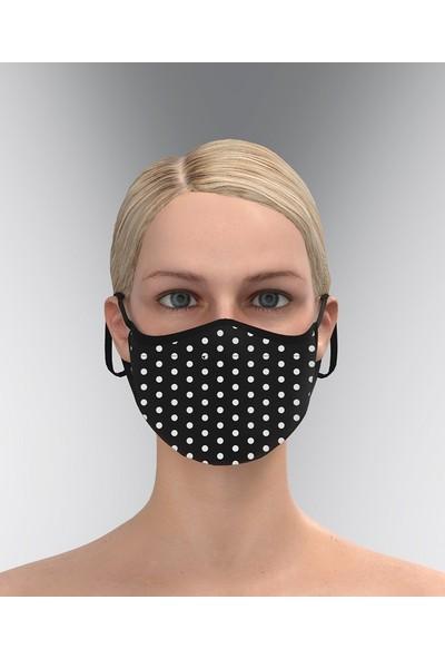 Parkrow 3 Katlı Yıkanabilir Zebra-Damalı-Puantiyeli Nano Maske