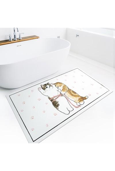 Karnaval Home Karnaval Patili Sevimli Kediler 2'li Banyo Paspas Takımı