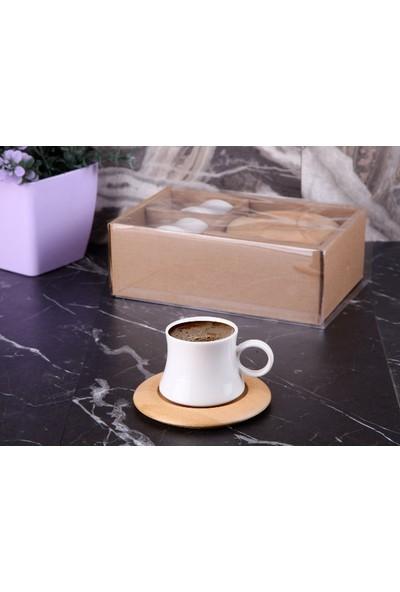 İkra Home Bambu 6'lı Tabaklı Kahve Fincan Takımı Ikh1