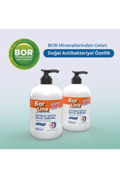 Borline %100 Yerli Bor Katkılı Antibakteriyel Sıvı El Sabunu 500 ml x2