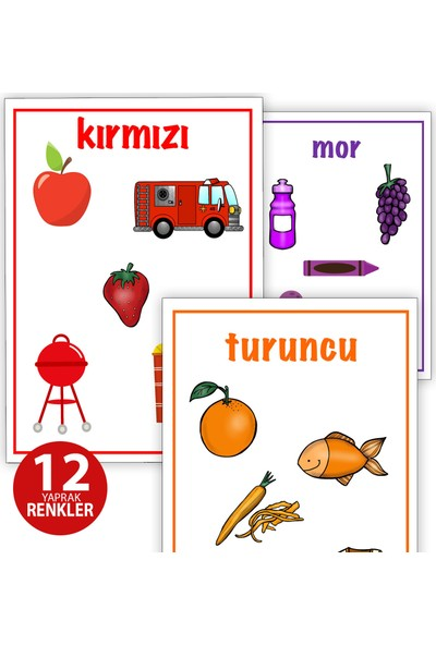 Alfabe - Sayılar - Renkler - Şekiller Anaokulu - 1. Sınıf 115 Yaprak Yazma Okuma Eğitim Seti