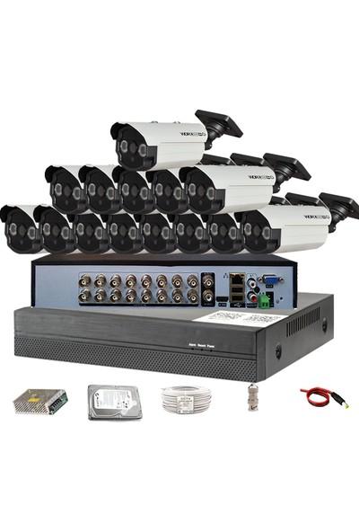 QROMAX PRO 163SM2 14'lü 5 Megapiksel Sony Lens 1080P Aptina Sensör Güvenlik Kamerası Seti