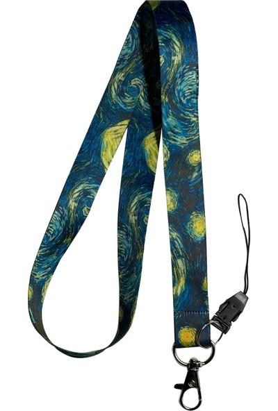 Stormistoretr Van Gogh Yıldızlı Geceler Boyun İpi Telefon Askısı
