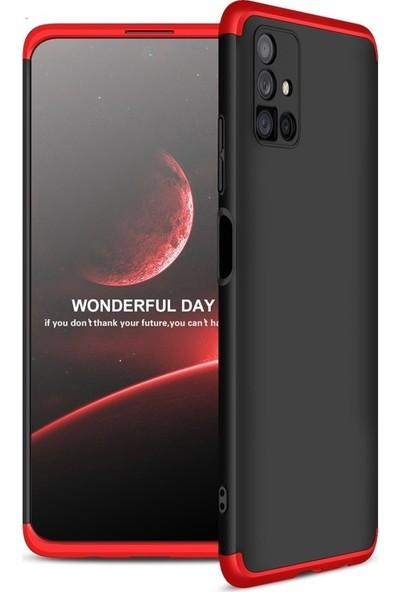Samsung Galaxy M51 Kılıf 360 Derece Tam Koruma AYS GKK İnce Sert Kapak Sert Polikarbon Kapak Siyah - Kırmızı