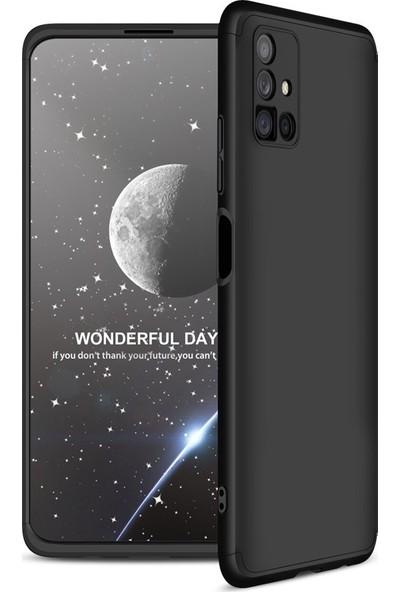 Samsung Galaxy M51 Kılıf 360 Derece Tam Koruma AYS GKK İnce Sert Kapak Sert Polikarbon Kapak Siyah