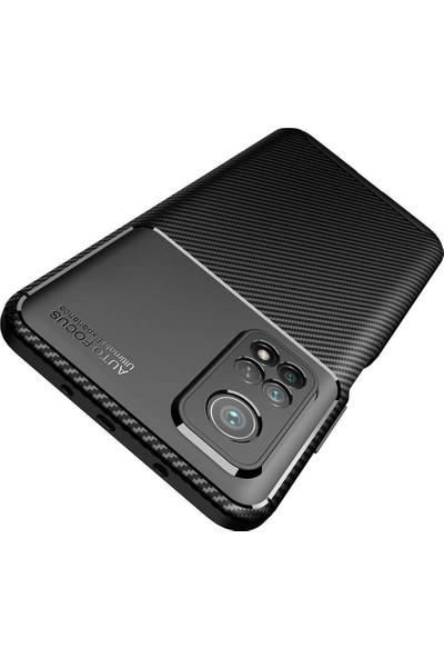 Xiaomi Mi 10T Pro 5g Kılıf + Ekran Koruyucu Rugged Armor Kamera Korumalı Karbon Desenli Silikon Siyah