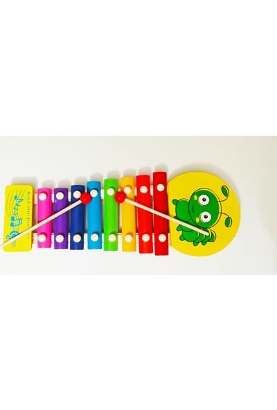 Myd Oyuncak Ahşap Ksilofon 8 Nota 8 Ton Hayvan Resimli ve Eğitici Ahşap 5'li Geometrik Şekiller Oyunu