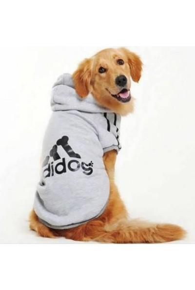 Gri Adidog Kapşonlu Sweatshirt, Orta ve Büyük Irklar Için Köpek Kıyafeti,