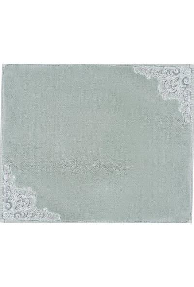 Karaca Home Bianca Su Yeşili 2 Parça Dantelli Banyo Paspası 60 x 100 cm + 50 x 60 cm