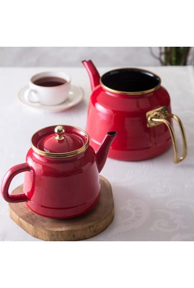 Emsan Troy Emaye Nostalji Çaydanlık Takımı Kırmızı