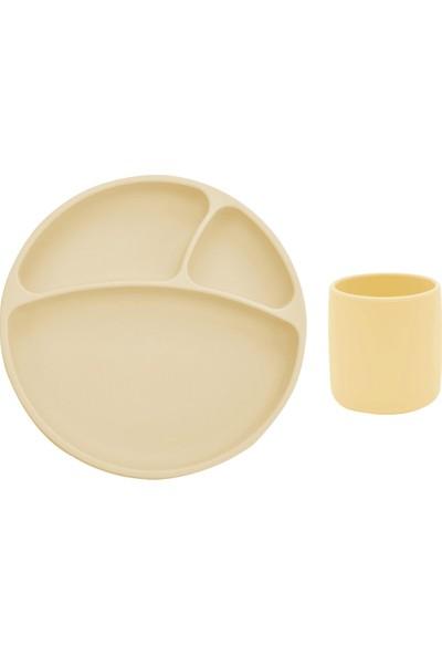 Oioi Beslenme Seti 2li Sarı Vakumlu Tabak + Mini Bardak