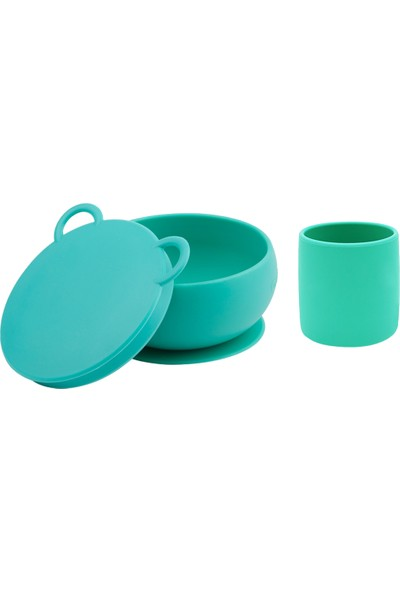 Oioi Beslenme Seti 2li Yeşil Vakumlu Kase + Mini Bardak