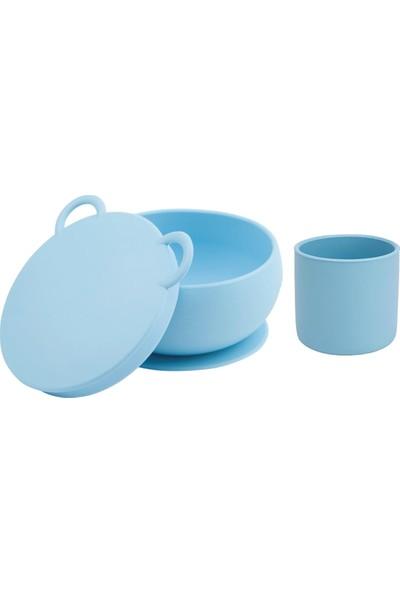 Oioi Beslenme Seti 2li Mavi Vakumlu Kase + Mini Bardak