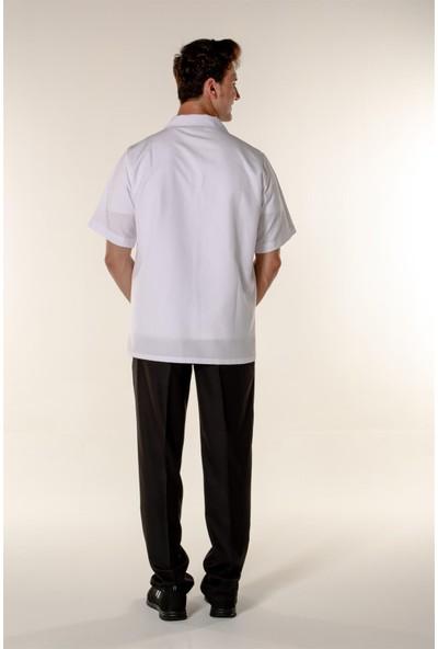 Mert Giyim Beyaz Erkek Doktor Öğretmen Hemşire Eczacı Ceketi Açık Yaka Kısa Kollu