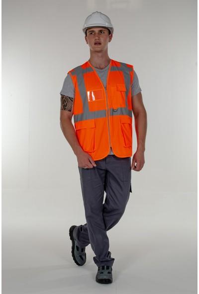 Mert Giyim Turuncu Fosforlu Mühendis İkaz Yelek Reflektörlü