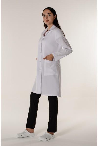 Mert Giyim Beyaz Kadın Doktor Öğretmen Eczacı Hemşire Önlüğü Açık Yaka