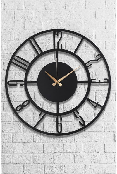 Muyi̇ka Bunnela Metal Siyah Duvar Saati 50 x 50 cm