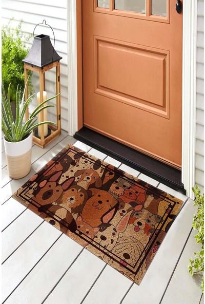 Pienso Home Somurtkan ve Gülen Köpekler Dekoratif Kapı Önü Paspası