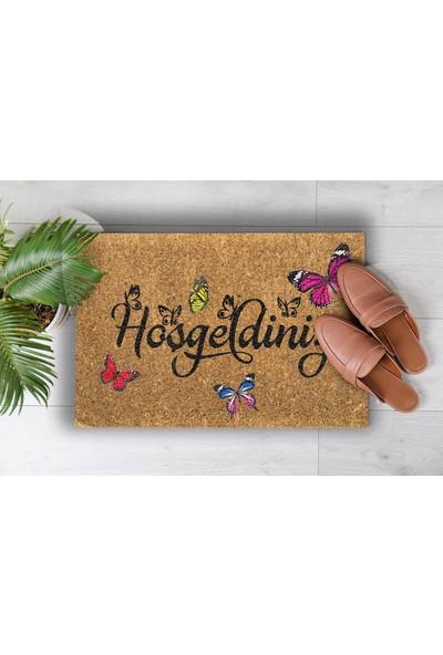 Pienso Home Hoşgeldiniz Kelebek Dekoratif Kapı Önü Paspası