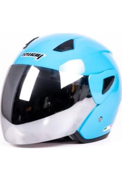 Sway Kask Sw 706 Yarım Camlı Ece Sertifikalı - Mavi