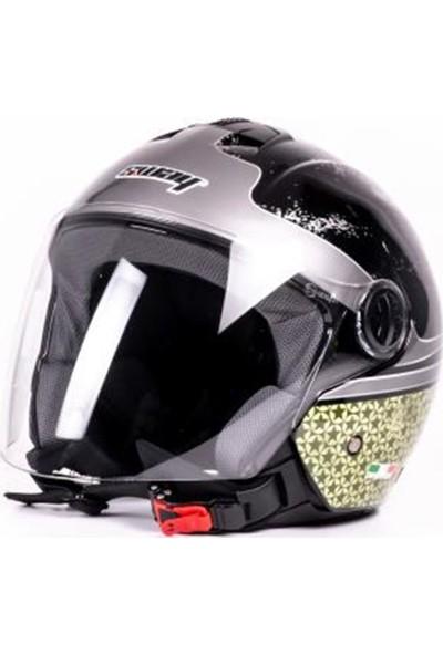 Sway Kask Sw 715 Desenli Abs Yarım Camlı Ece 2205 - Siyah&gri