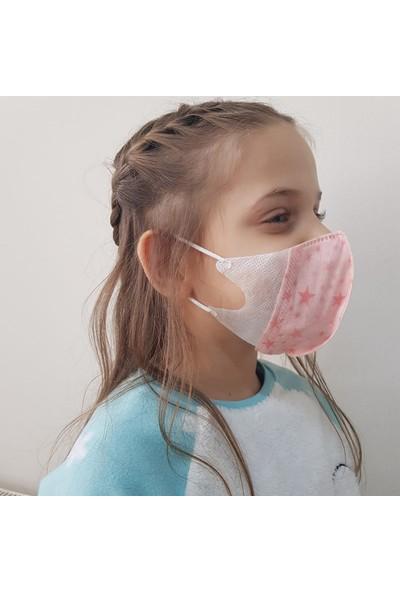 Corelife 3D Yıldız Desenli Kız Çocuk Cerrahi Maske 50 Adet