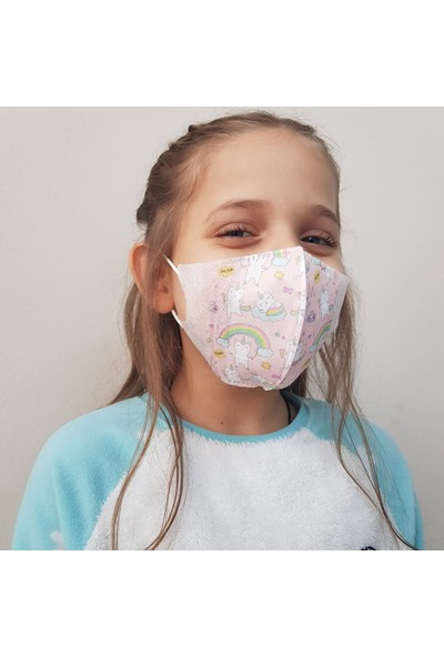 Corelife 3D Unicat Desenli Kız Çocuk Cerrahi Maske 50 Adet