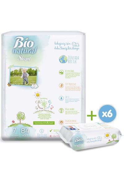 Sleepy Bio Natural Bebek Bezi 7 Numara Xxlarge 84 Adet + 6X40 Bio Natural Islak Havlu