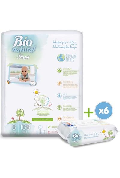 Sleepy Bio Natural Bebek Bezi 3 Numara Midi 168 'li + 6X40 Bio Natural Islak Havlu