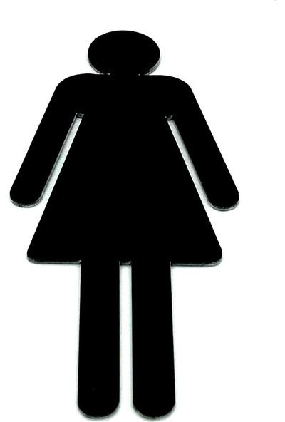 Se-Dizayn Wc Tuvalet Işareti Bayan, Kapı Yönlendirme Levhası 15 cm x 6,5 cm