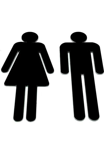 Se-Dizayn Wc Tuvalet Işareti Bayan ve Bay Takım ( 2 Adet ) Kapı Yönlendirme