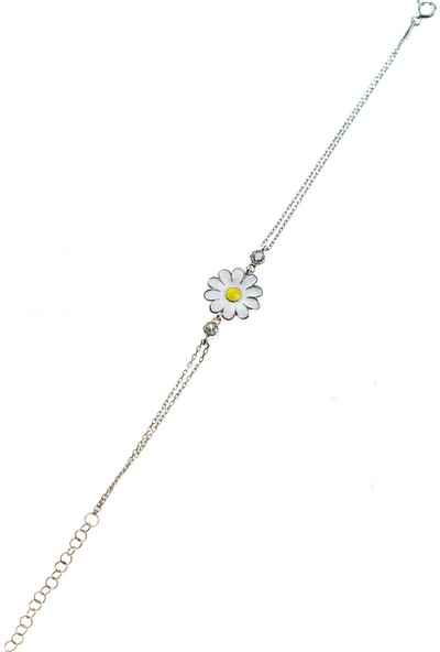 Söğütlü Silver Gümüş Rodyumlu Mineli Papatya Kolye Bileklik ve Küpe Gümüş Set