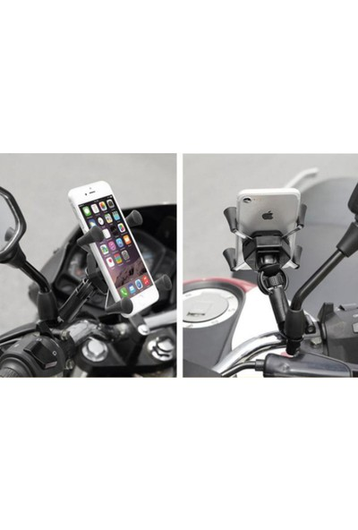 Nanospace x Grip Ayna Ayaklı Motosiklet Bisiklet Telefon Tutucu