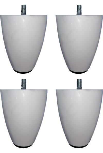 Adem Koç Plastik 10 cm Tombul Armut Baza Kanepe Koltuk Ayağı 4 Adet (M8 Ince Diş)