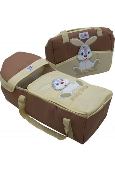 Rain Baby Kahve Kabartma Tavşanlı 2'li Bebek Taşıma Seti