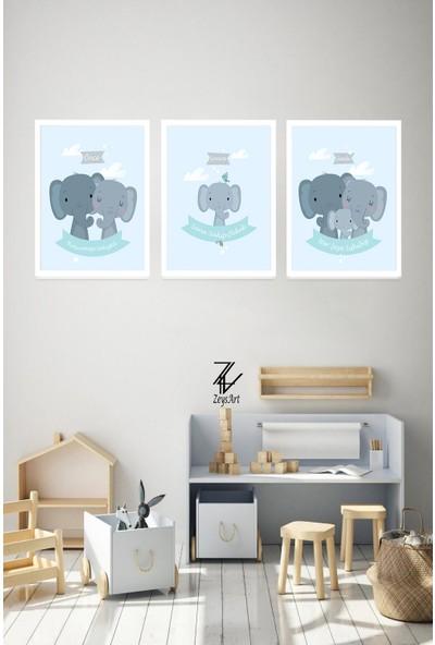 """Zeys Art Home Aile ve Çocuk Temalı Odalarınıza Özel (Mavi)""""çerçeveli Tablo Seti"""""""
