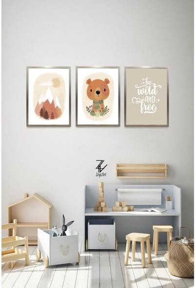 """Zeys Art Home Çocuklara Özel Ayıcık Görselli """"çerçeveli Tablo Seti"""""""